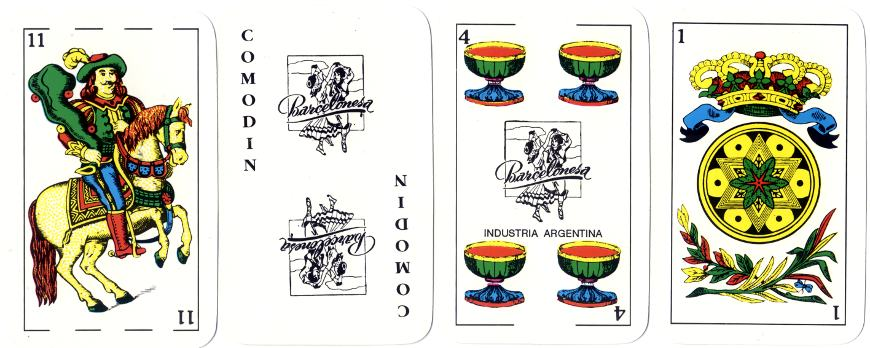four cards from 'Barcelonesa' deck with Spanish-suited courts
