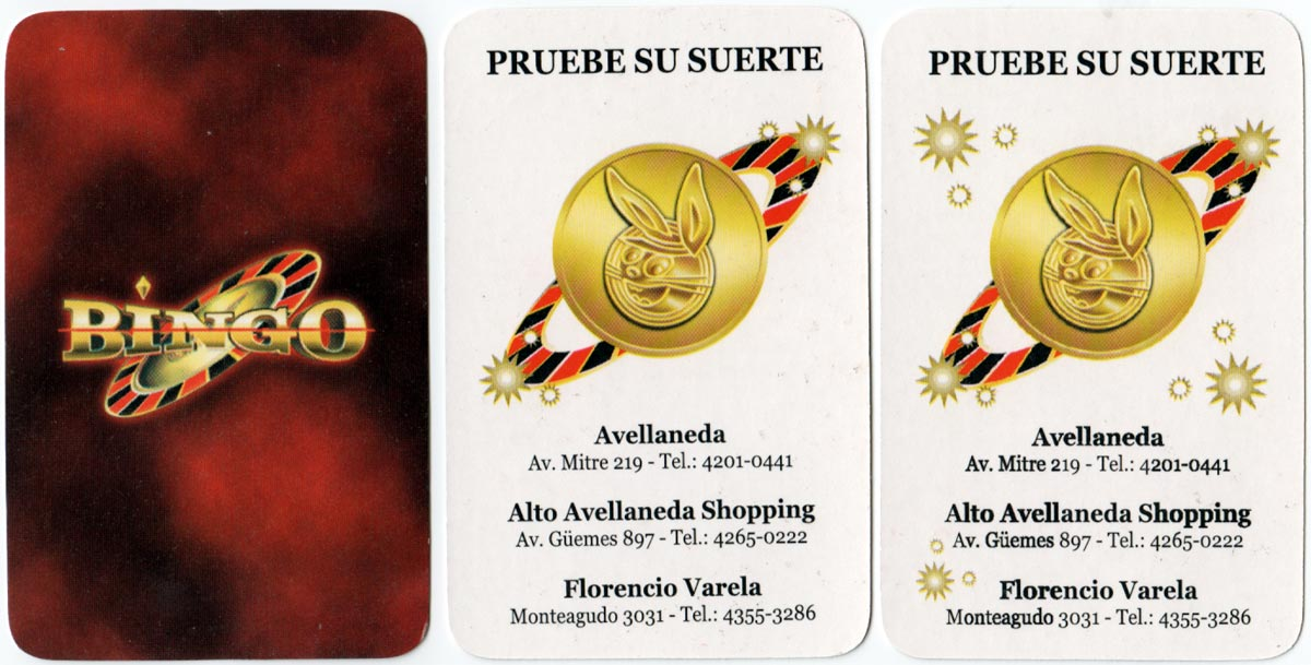 Bingo playing cards for Grupo AGG, Bs Aires, c.2007