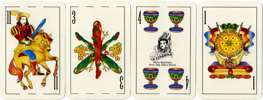 four cards from 'La Española 2000' deck with digitally re-drawn Spanish-suited courts