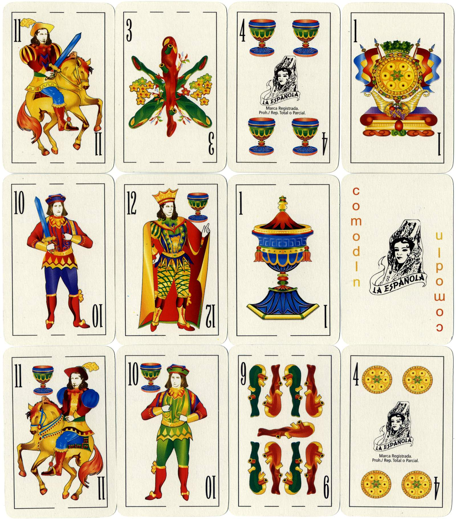 La Española 2000 playing cards, Gráfica 2001's digitally re-drawn version of the original classic 'La Española' Spanish-suited pack