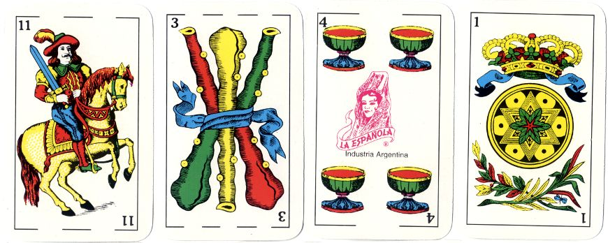 four cards from 'La Española Classic' deck with Spanish-suited courts