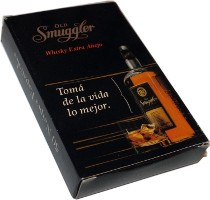 box from Old Smuggler Whisky playing cards manufactured by Gráfica 2001, Argentina