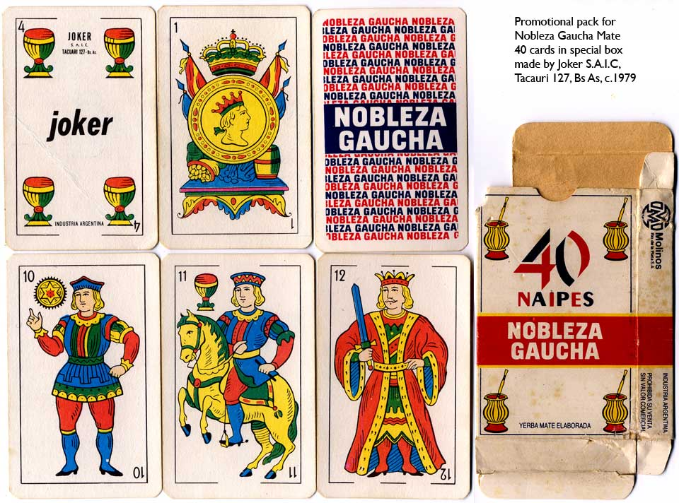 Nobleza Gaucha Mate advertising playing cards by Joker S.A., c.1979