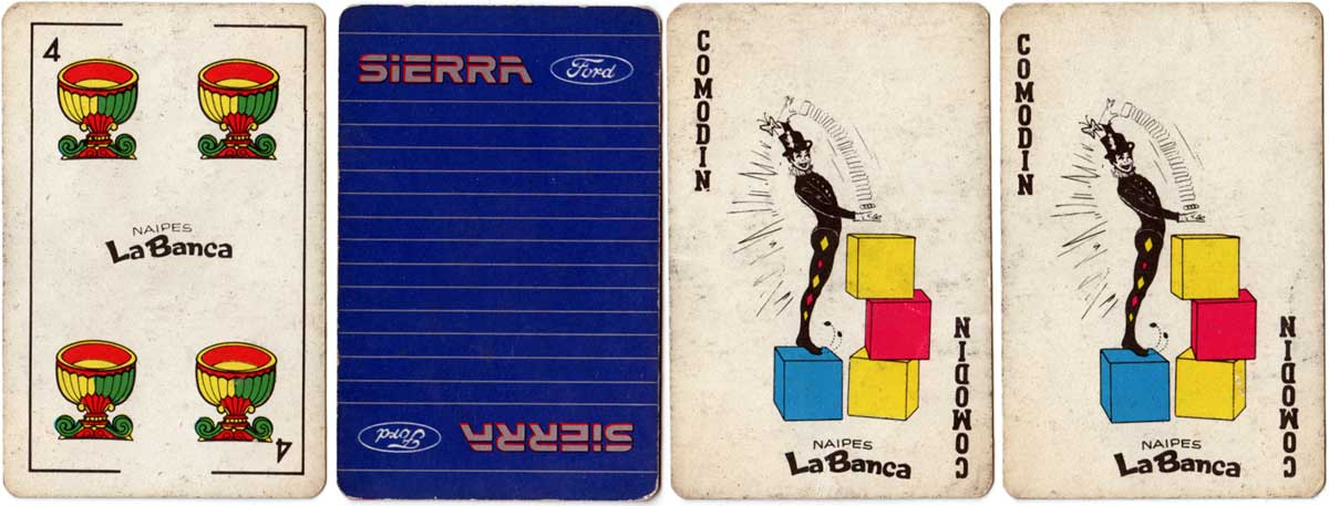 48-card deck produced by Naipes La Banca for Ford Sierra, c.1982
