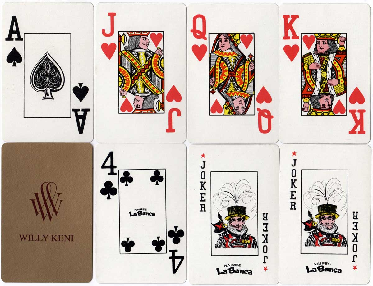 Naipes La Banca's standard Jumbo index deck for Willy Keni, c.1976