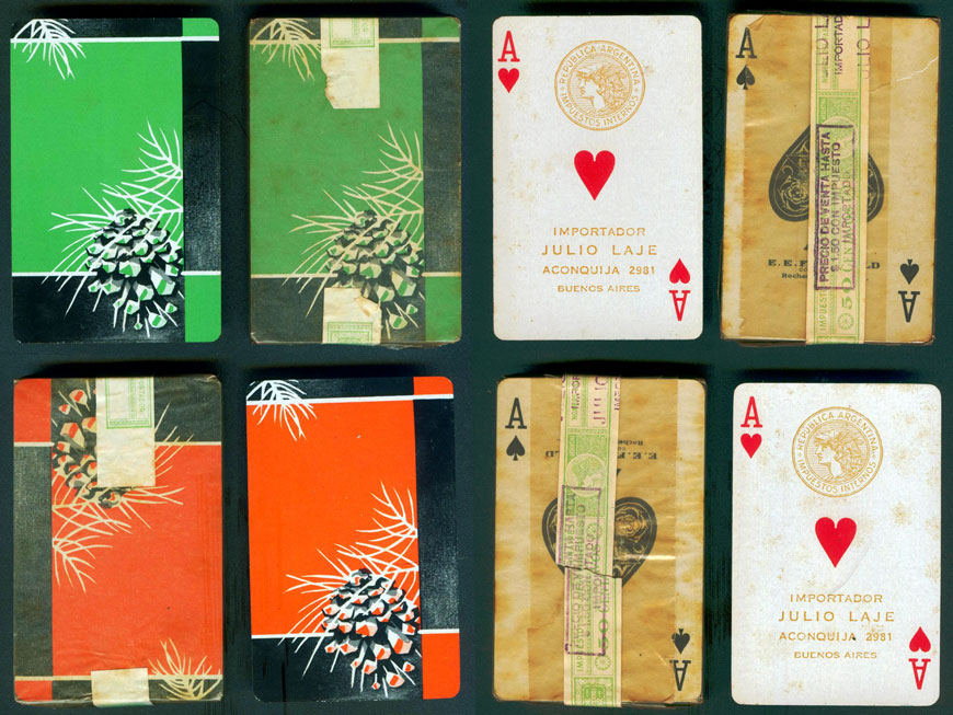 Julio Laje imported decks manufactured in USA and published by E.E. Fairchild Co., Rochester, N.Y. during the 1930s and 1940s