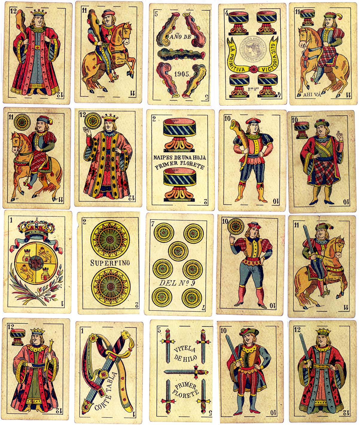 Cadiz style playing cards manufactured by La Primitiva, Buenos Aires, c.1905