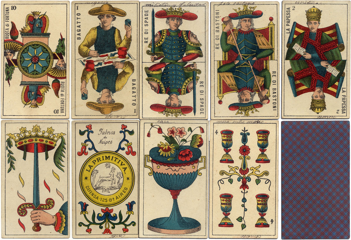 Piedmontese tarot by La Primitiva, Bs As, c.1890