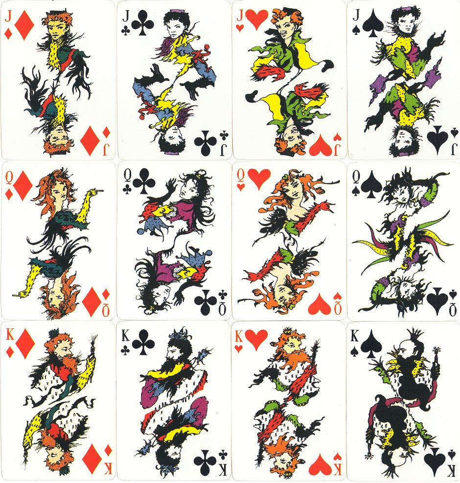 playing cards designed by Argentinian artist Leonor Fini