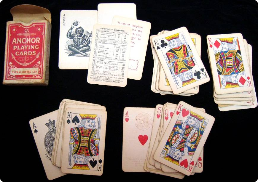 Anchor playing cards manufactured by Thomas De la Rue & Co for Gath & Chaves Ltd, c.1920s