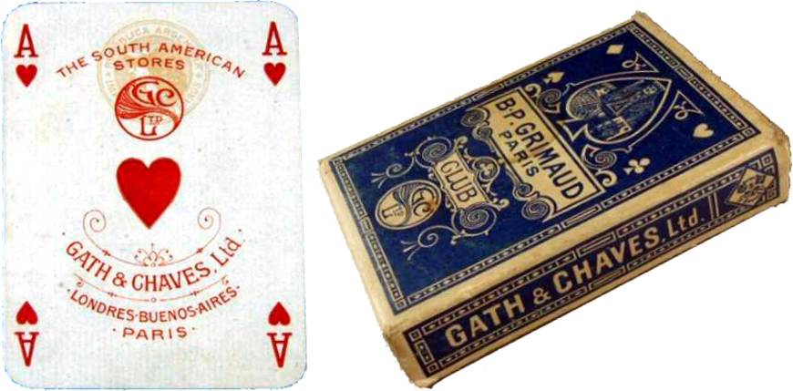 Club playing cards manufactured by B.P. Grimaud for Gath & Chaves Ltd, c.1920s