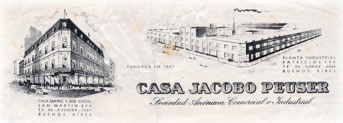 Casa Jacobo Peuser letterhead dated 1954