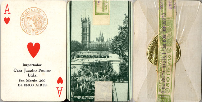 Beautiful Britain playing cards featuring the Houses of Parliament / Victoria Tower (London) manufactured in England by John Waddington, imported into Argentina by Casa Jacobo Peuser Ltda, c.1928