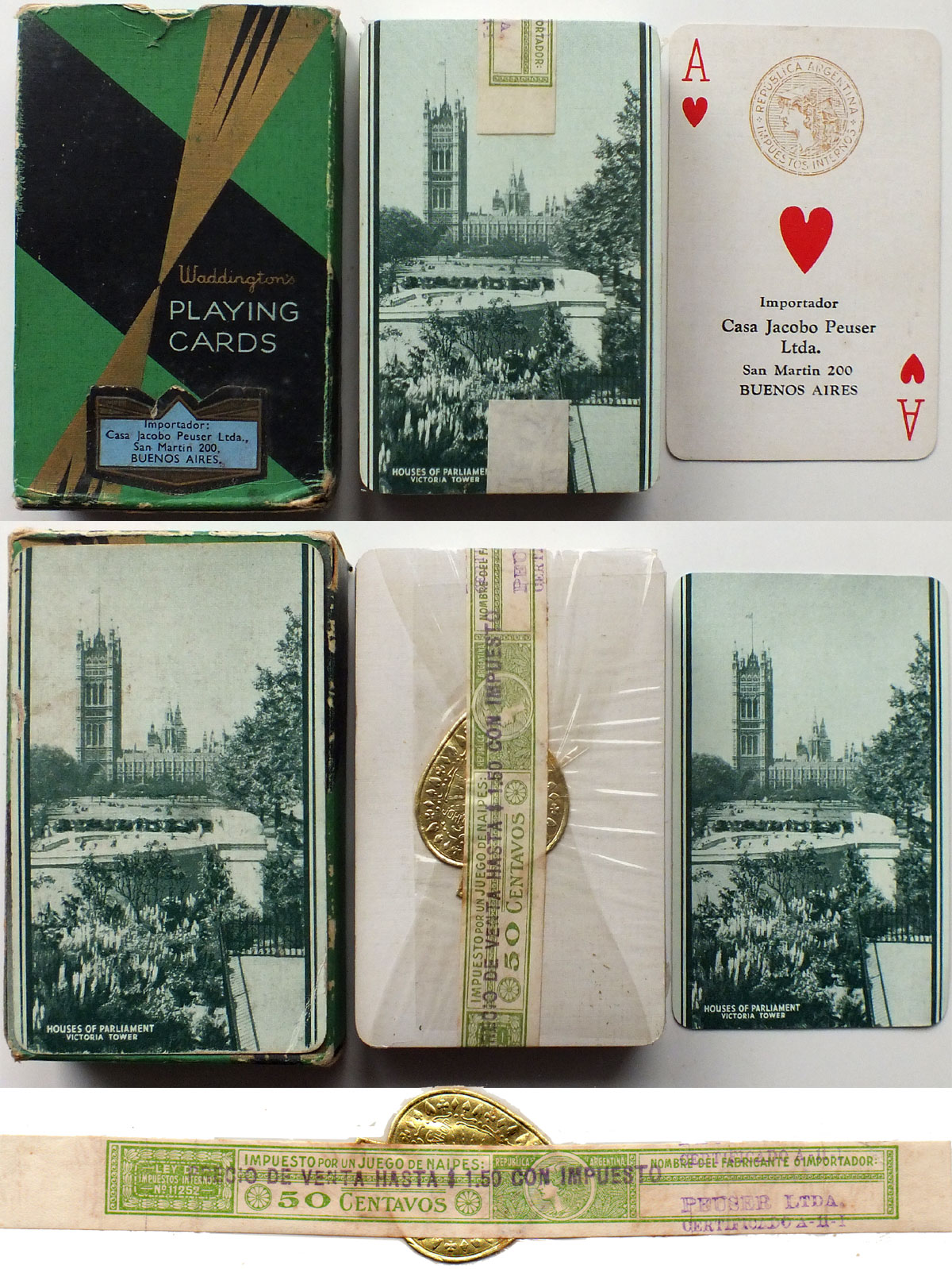 Playing cards featuring the Houses of Parliament / Victoria Tower (London) manufactured in England by John Waddington, imported into Argentina by Casa Jacobo Peuser Ltda, c.1938