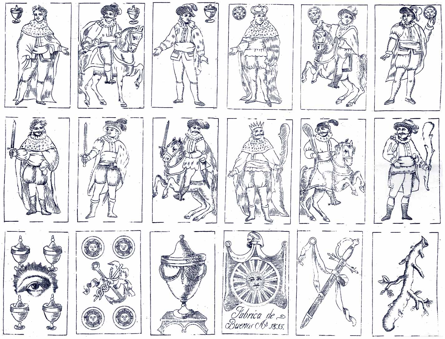 18 engraved playing cards by José Maria Quercia y Possi, Buenos Aires, 1815