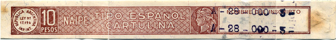 10 pesos tax band corresponding to Ley 17,196 (1967-68)