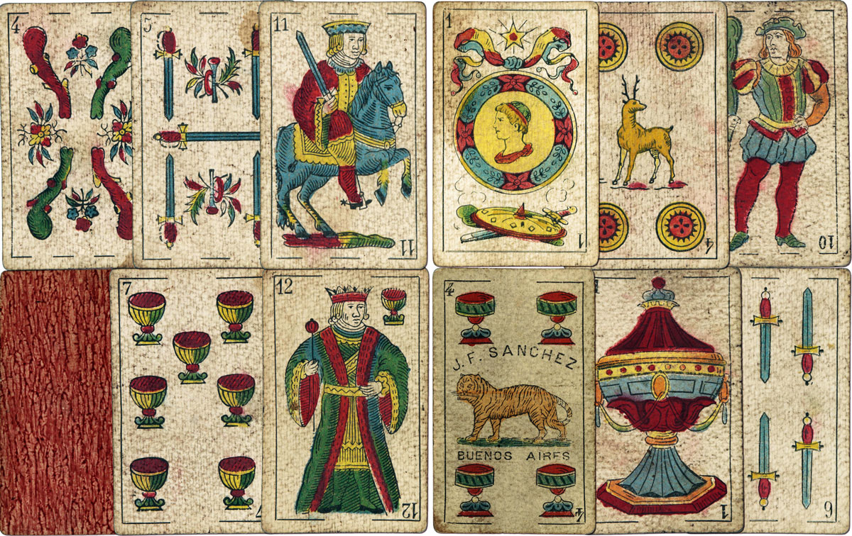 Playing cards made by J. F. Sanchez, Buenos Aires, c.1890