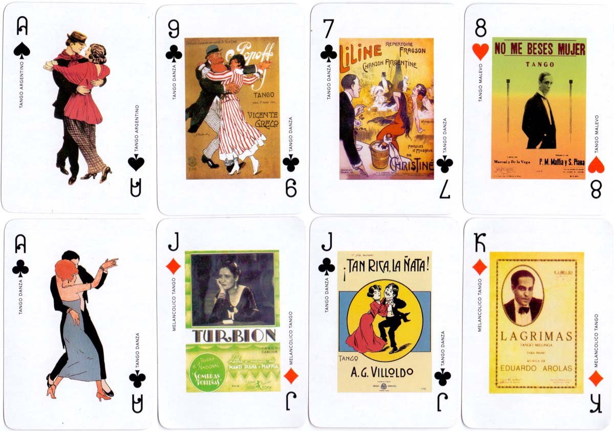 Naipes de Poker Milonguita featuring early Tango music score covers, Gardés Editorial, 2003