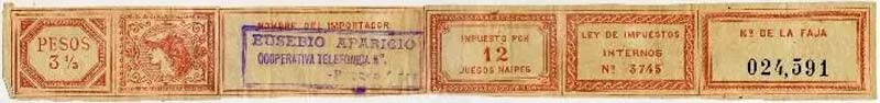 12 pack tax band for imported packs, c.1900-1915