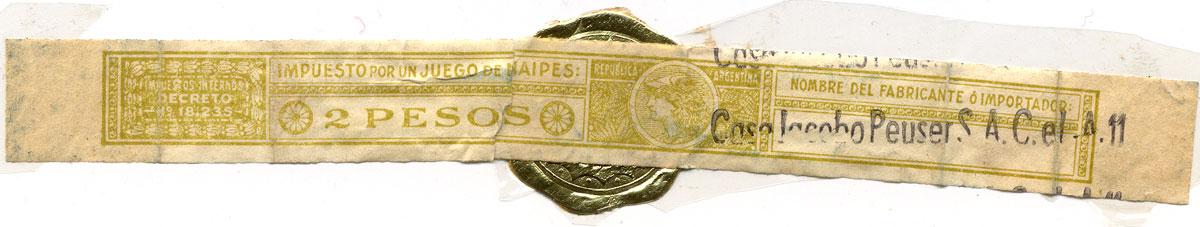 2 Pesos yellow taxband overprinted with Casa Jacobo Peuser S.A.C. e I. Decreto No.18,235, 1944-1964
