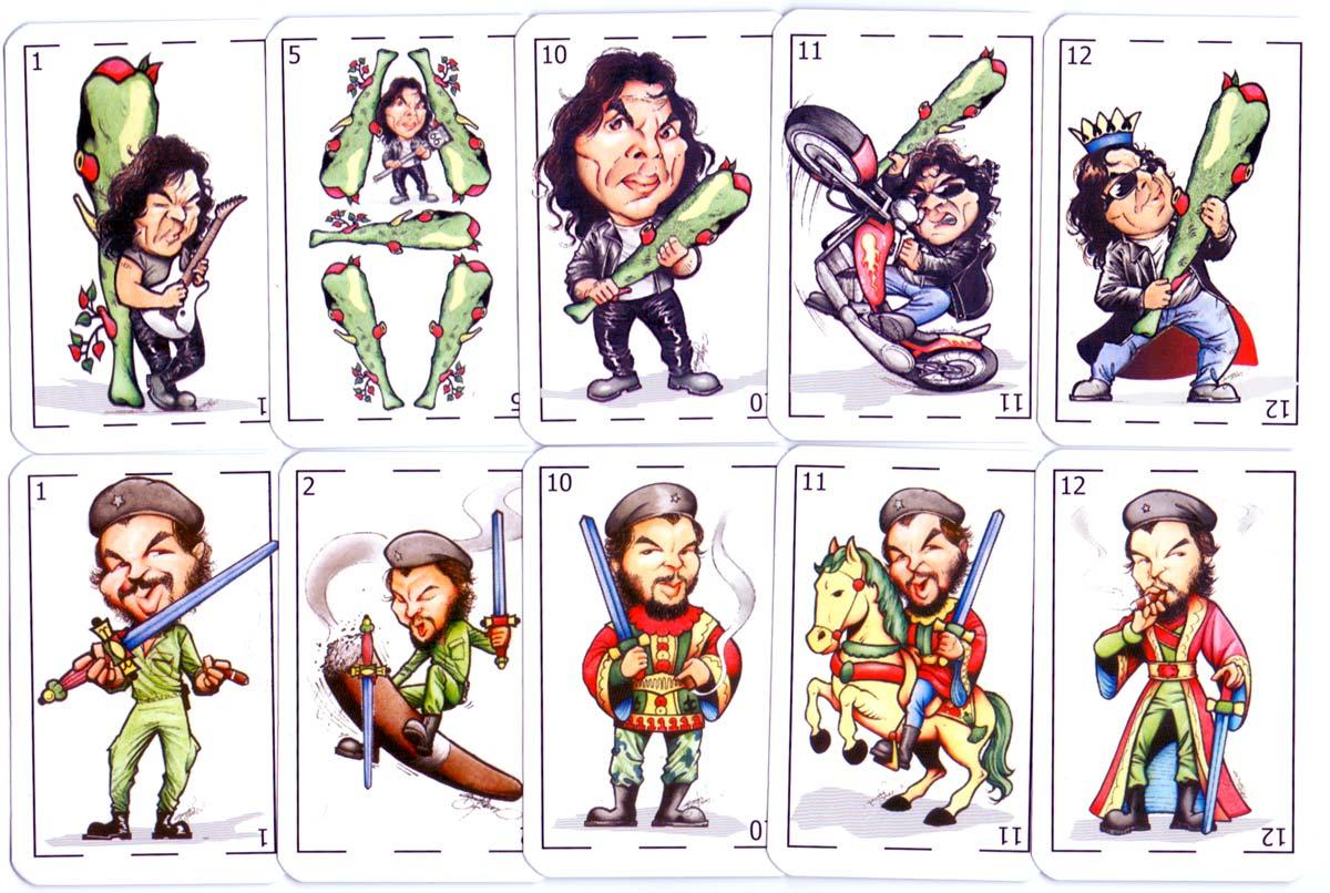 """Naipes Truco """"Únicos"""" con Caricaturas de Héroes Nacionales, designed by Gerardo N. Perez, 2006"""