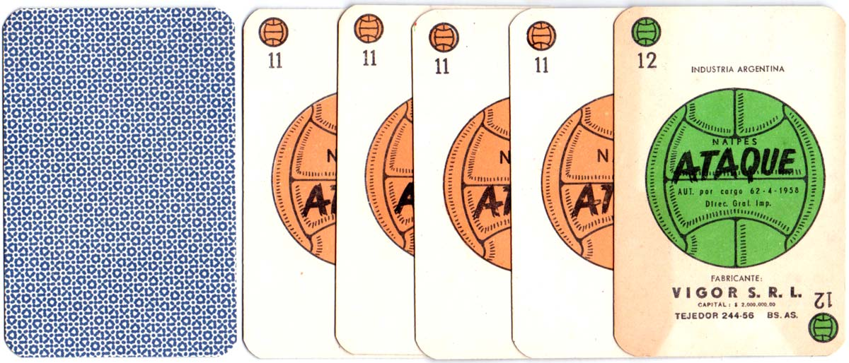 """Ataque"", a card game simulating football manufactured in Buenos Aires by Vigor S.R.L., 1958"