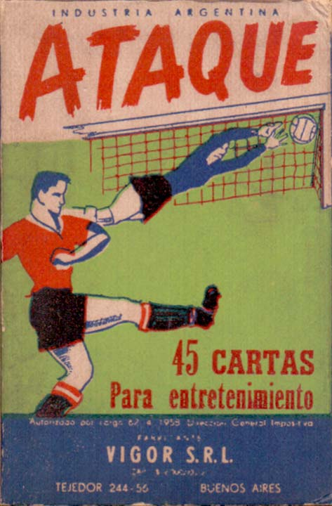 "Box from ""Ataque"", a card game simulating football manufactured in Buenos Aires by Vigor S.R.L., 1958"