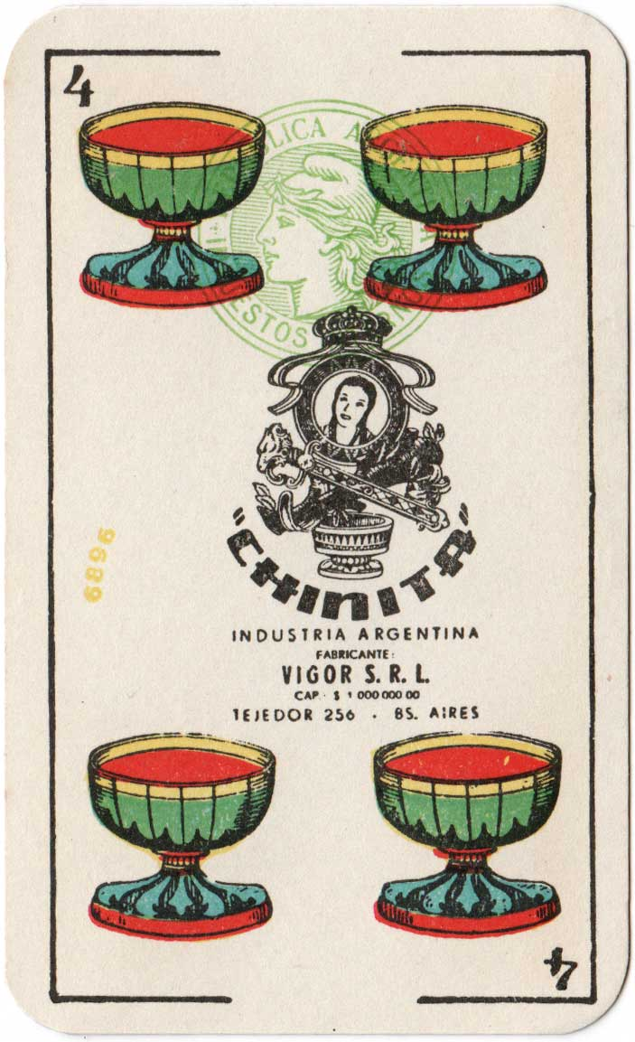 Four of cups from Naipes CHINITA, c.1955