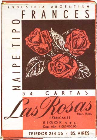 Naipes Las Rosas box, manufactured by VIGOR S.R.L., c.1959