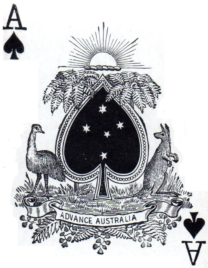 Australian ace of spades designed to mimic a national coat of arms, c.1910
