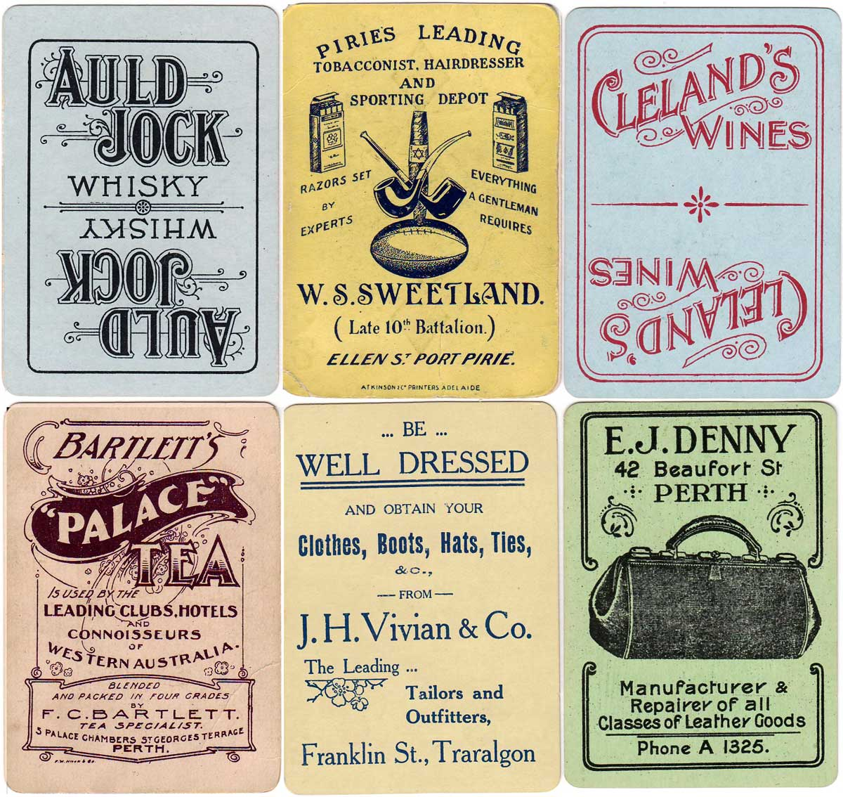 Advertising Backs by William Detmold Ltd c.1910-1920s
