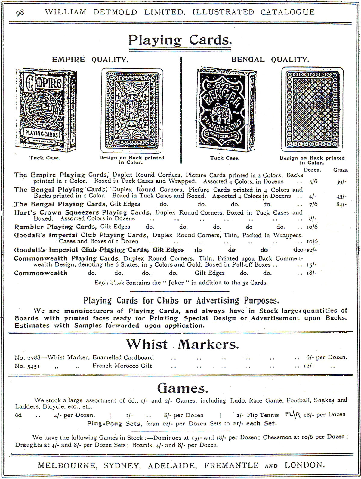 William Detmold Limited Illustrated Catalogue 1905