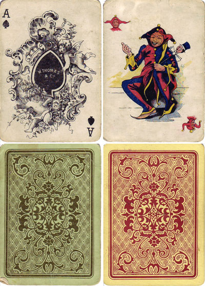 """W Thomas & Co"" Ace of Spades, Joker and backs, c.1900-1910"