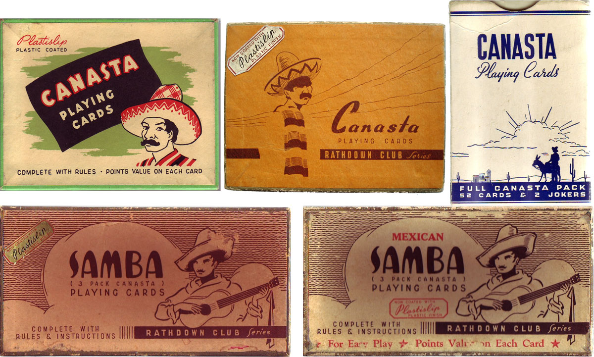 assorted boxes for 'Canasta' and 'Samba' with touristic Mexican imagery