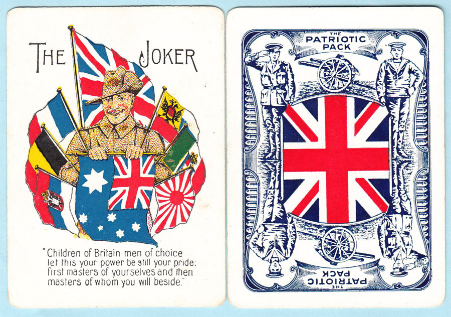 Patriotic Playing Cards printed by Sands & McDougall, 1917