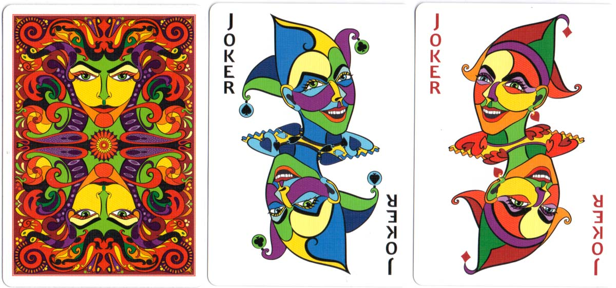Vizaĝo playing cards created by Annette Abolins, 2017