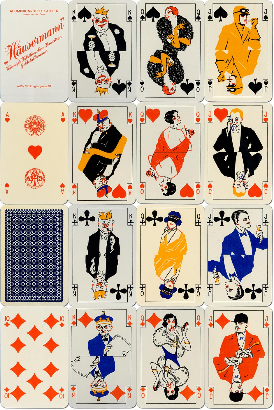 aluminium playing cards manufactured by Häusermann United Chemical and Metal Engraving Co., Vienna, c.1925