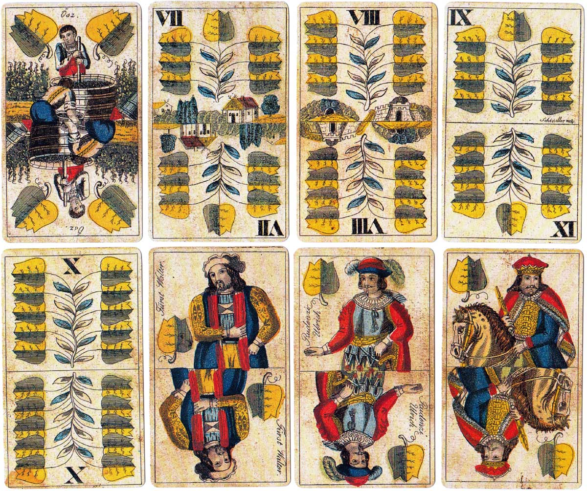Facsimile of 'Wilhelm Tell' Hungarian deck by Salamon Antal, Keczkemét (1860), produced by Piatnik in 1992