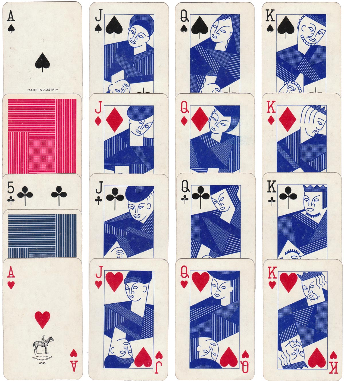 """Blue Playing Cards"" by Piatnik, 1960s"