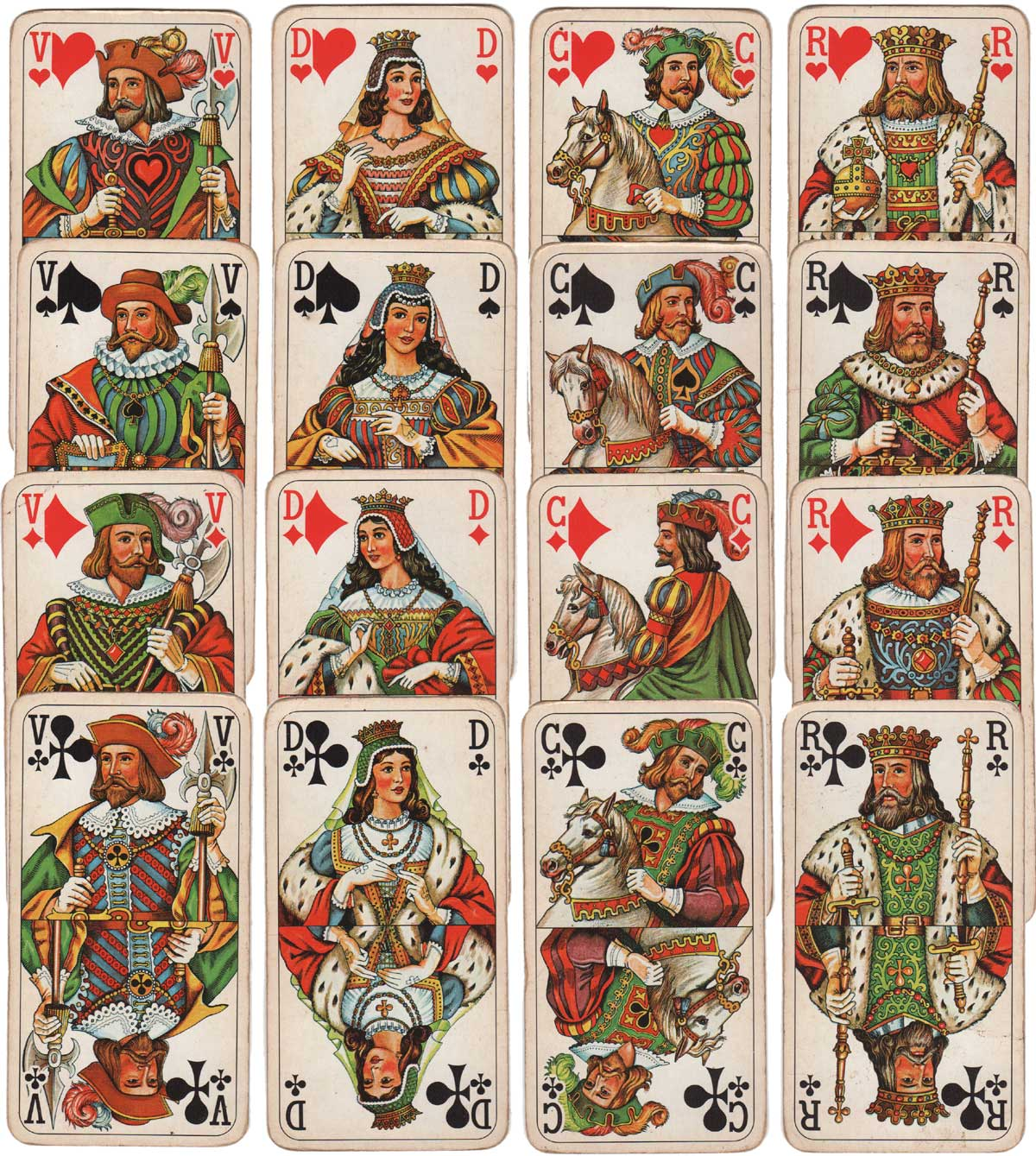 The 16 court cards from Bourgeois Tarot by Piatnik 1987