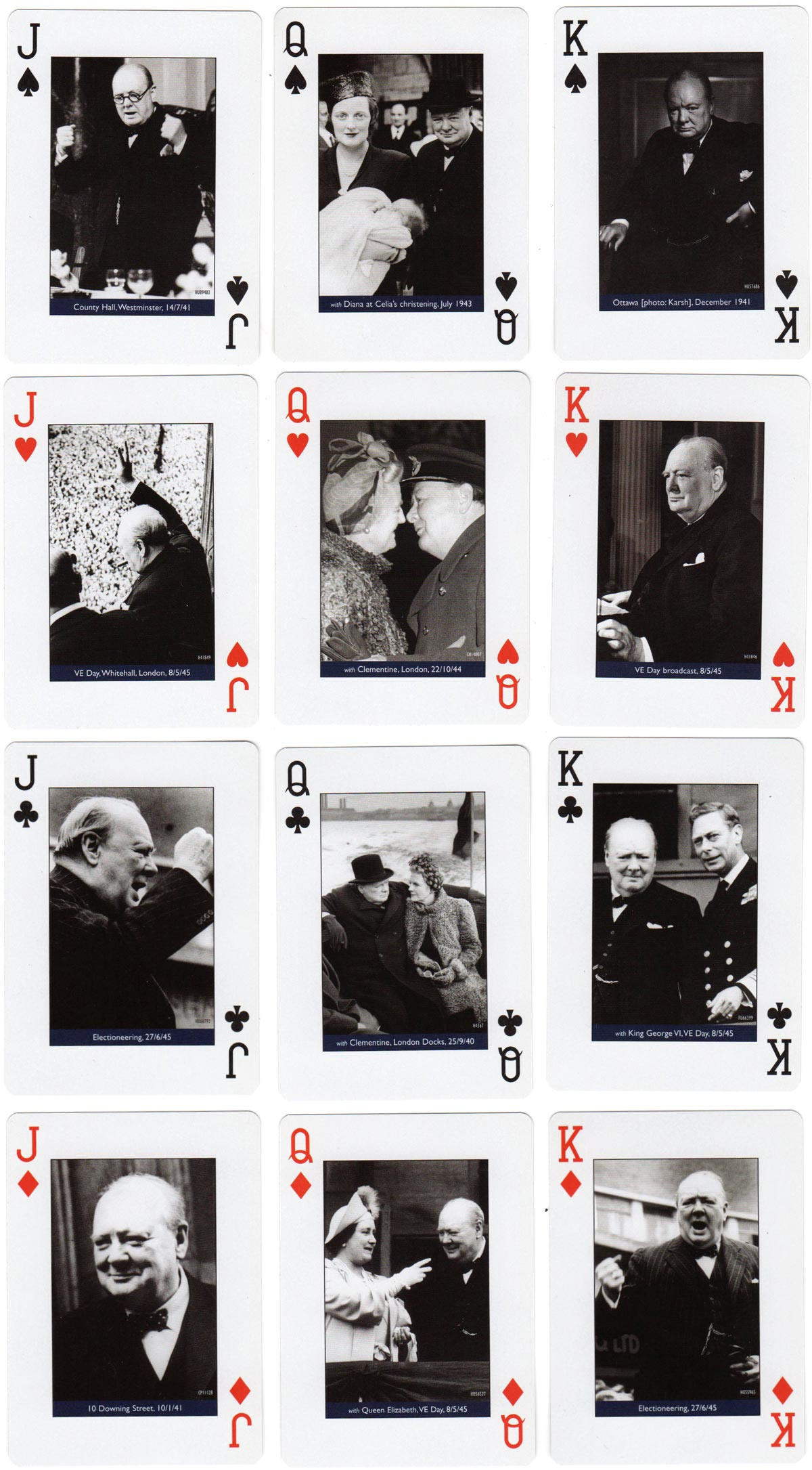 Churchill 'Walking with Destiny' playing cards published by the Imperial War Museum, London