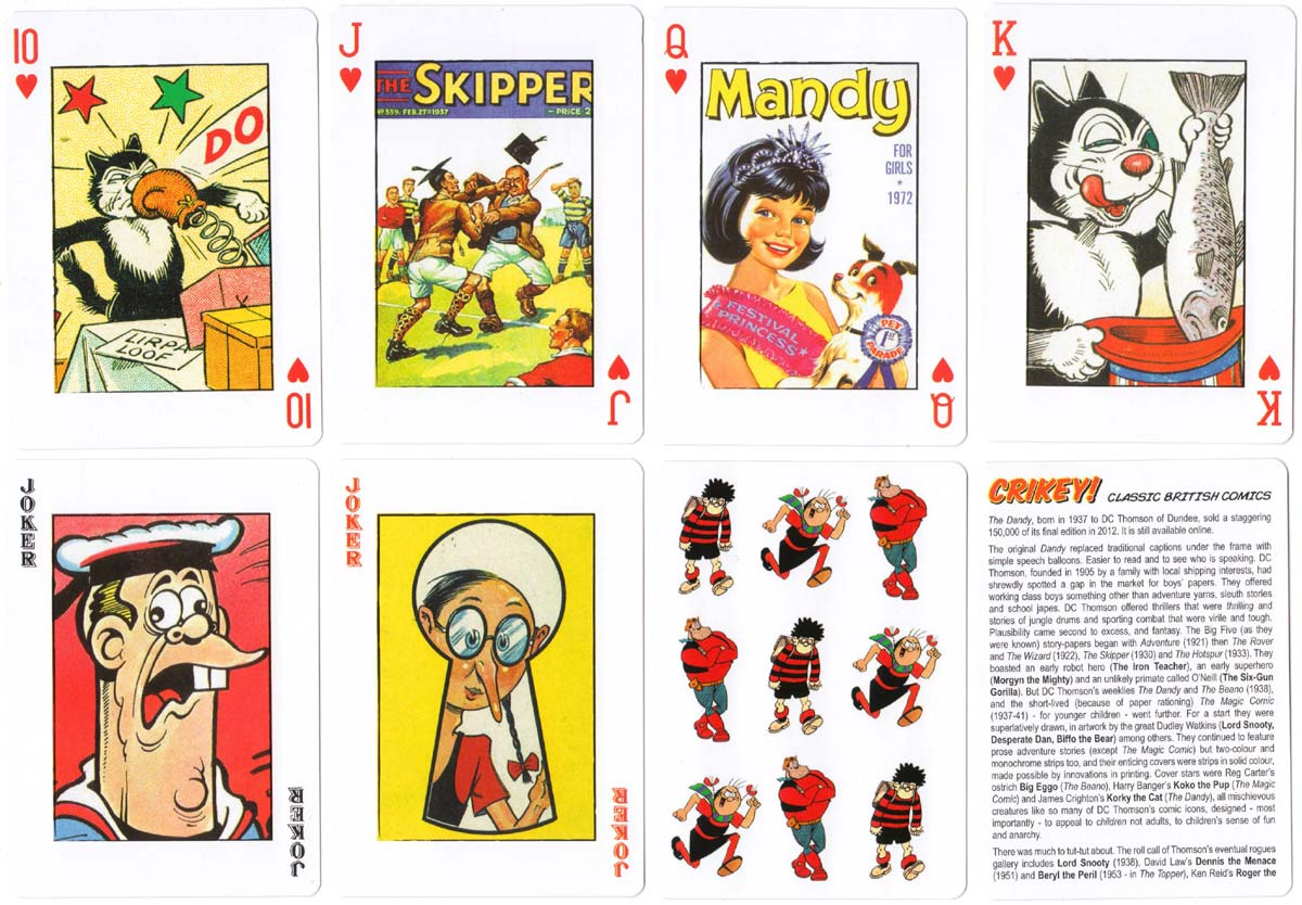 Classic British Comics playing cards published by Bird Playing Cards, 2013