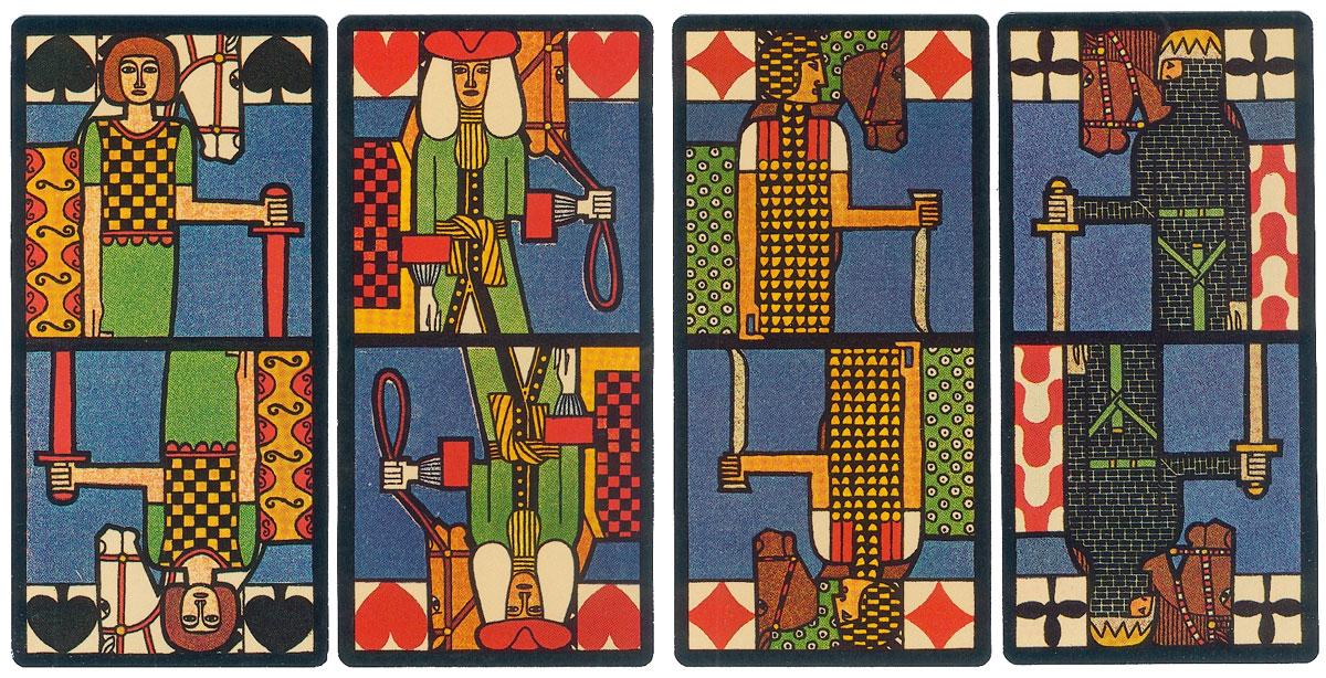"""Knights from """"Jugendstil Art Nouveau"""" tarock designed by Ditha Moser"""