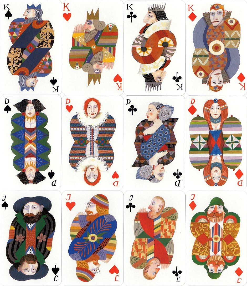 playing cards designed by Karl Korab, published by Edition Hilger, 1991