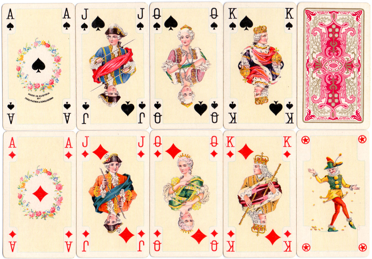 Piatnik's Lady slim sized playing cards with attractive historical court designs, 1950s
