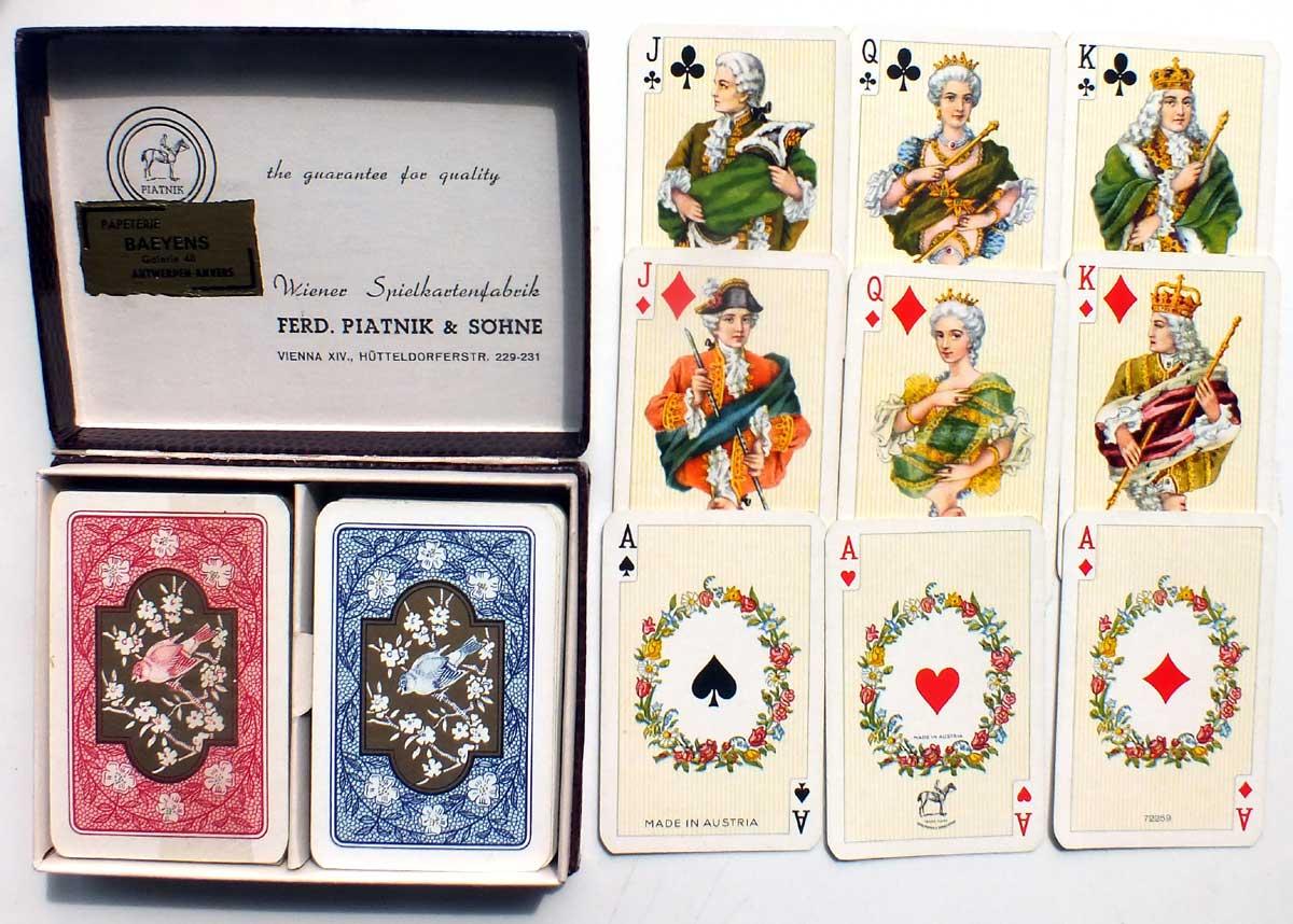Piatnik's patience sized playing cards, 1970s