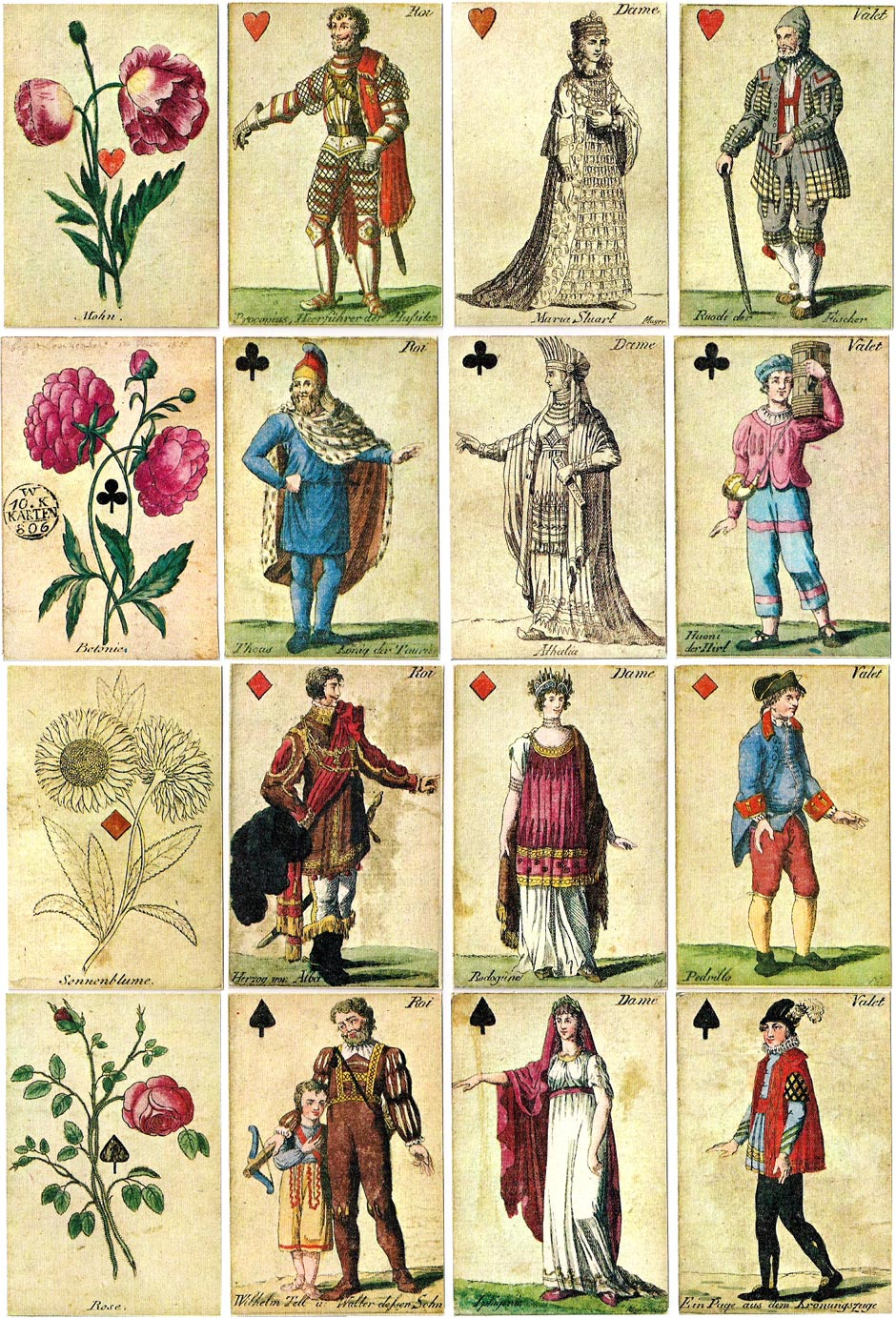 Johann H. Löschenkohl's Botanical Playing Cards, originally published in Vienna in 1806