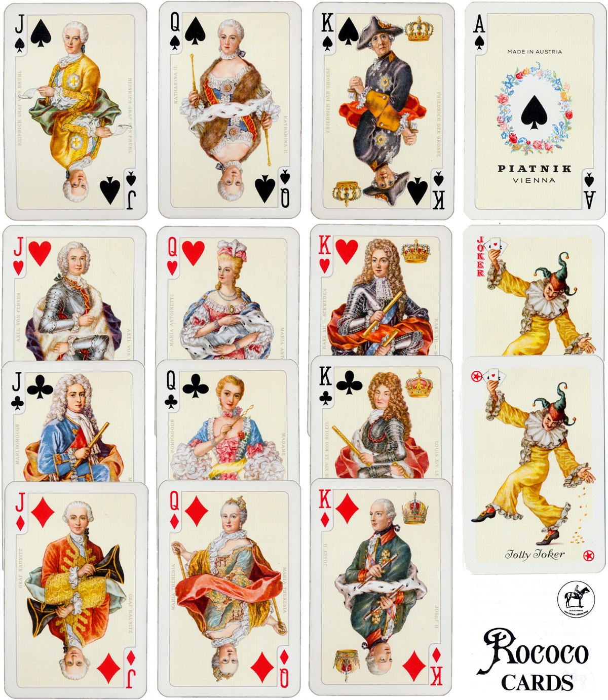 "Piatnik's ""Rococo No.2130"" playing cards designed by Prof. Kuno Hock, 1975"