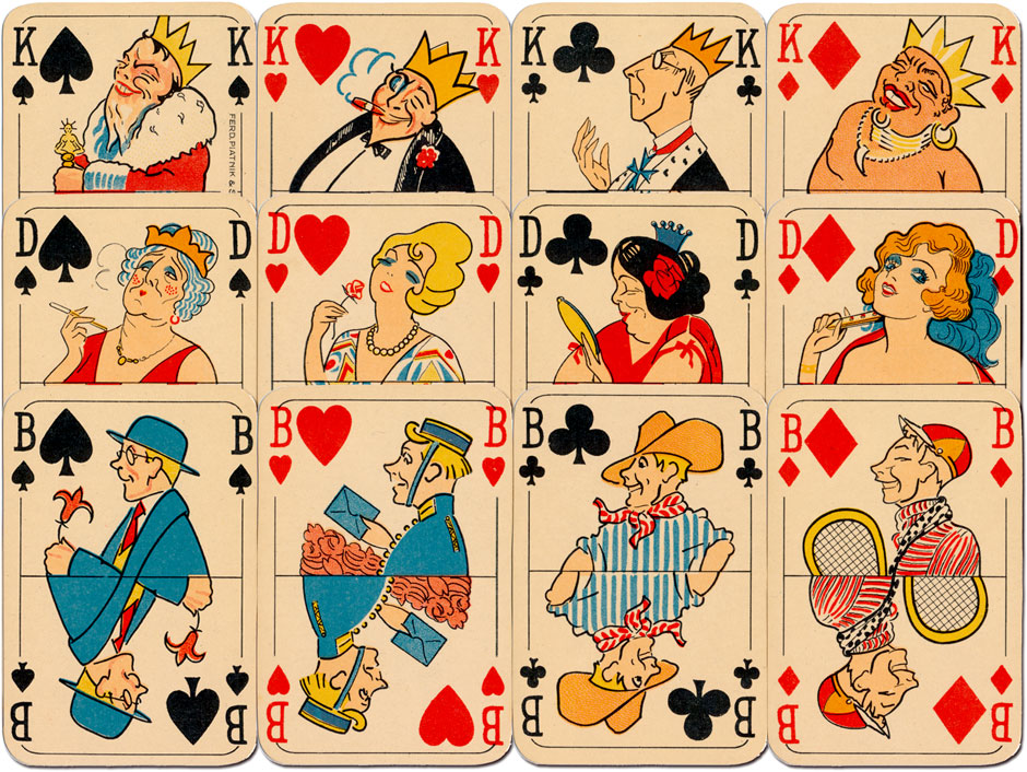 "Piatnik's ""Rummy No.210"" depicts period caricatures from the 1930s"