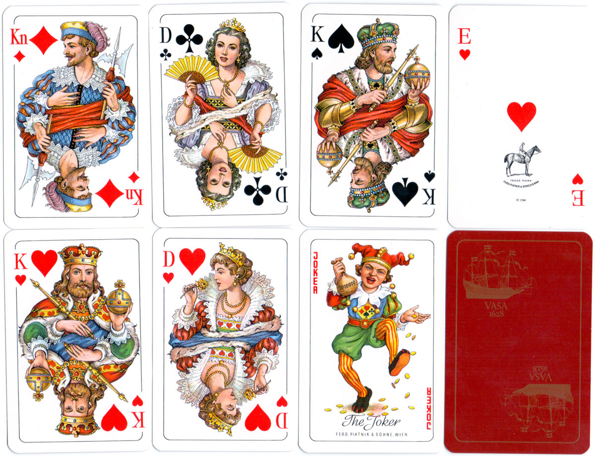 Standard Swedish type playing cards manufactured for the Vasa Museum, Stockholm, Sweden by Ferd Piatnik & Sons, Vienna, 1997